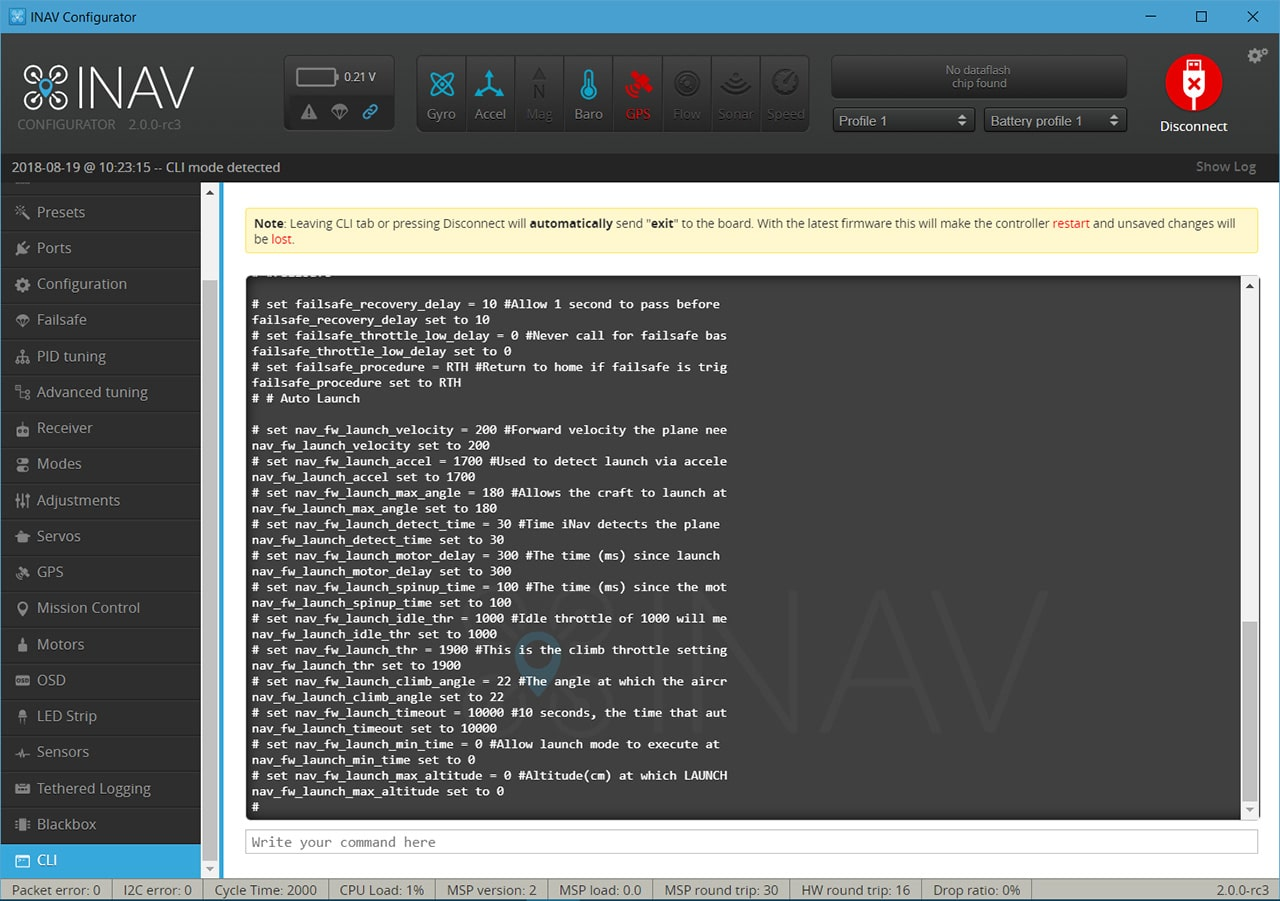 Image showing the iNav CLI screen.