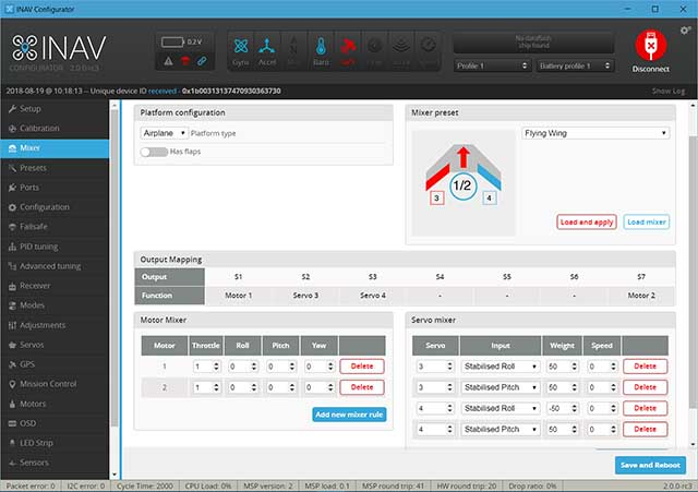 Image showing the iNav mixer screen.