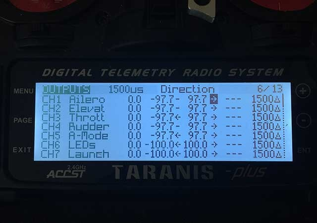 Image showing the where to reverse the output on the taranis.