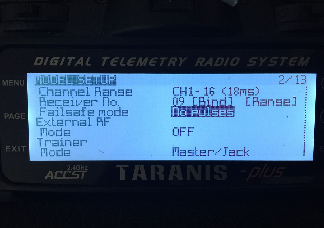Image showing the Taranis failsafe setting.