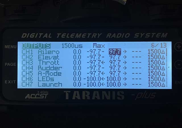 Image showing the where to adjust the maximum end point on the taranis.