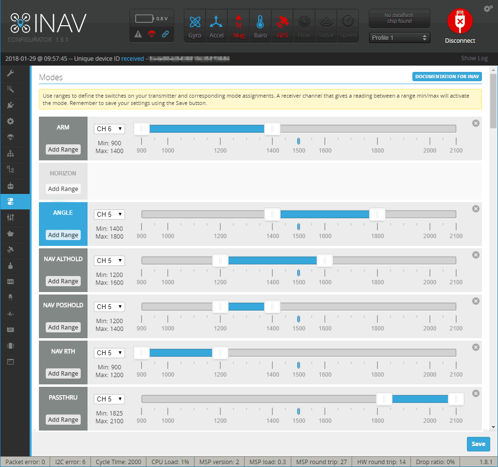 Setting the flight modes in iNav using 1 channel.