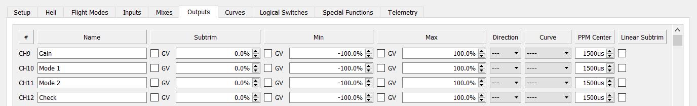 Outputs setup for S6R