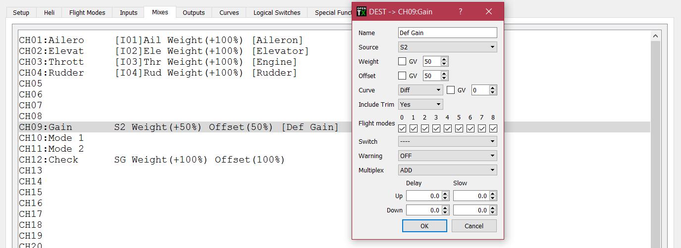 S6R gain dial mixer settings