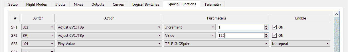 Special Functions setup for reading out the top speed.