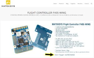 Mateksys website for F405-WING