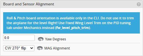 iNav  Configuration: Board and Sensor Alignment section