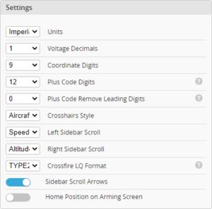 iNav OSD settings