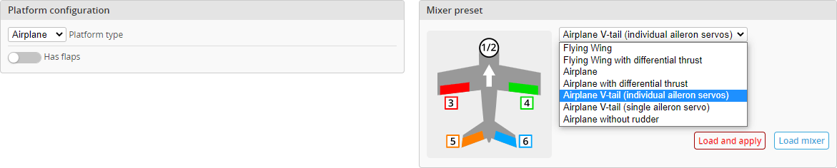iNav mixer configuration and presets