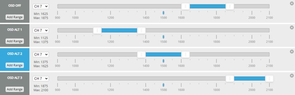iNav multiple OSD modes setup
